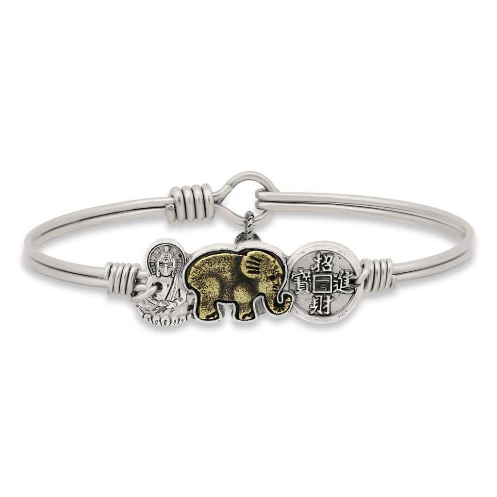 Buddha Elephant Coin Silver Wire Wrapped Bracelet