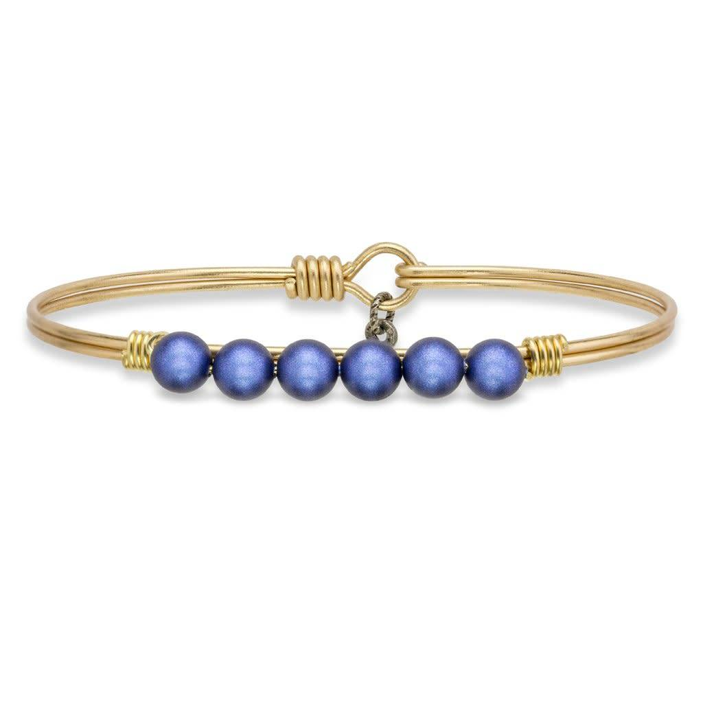 Lapis Blue Pearl Brass Ox  Wire Wrapped Bracelet