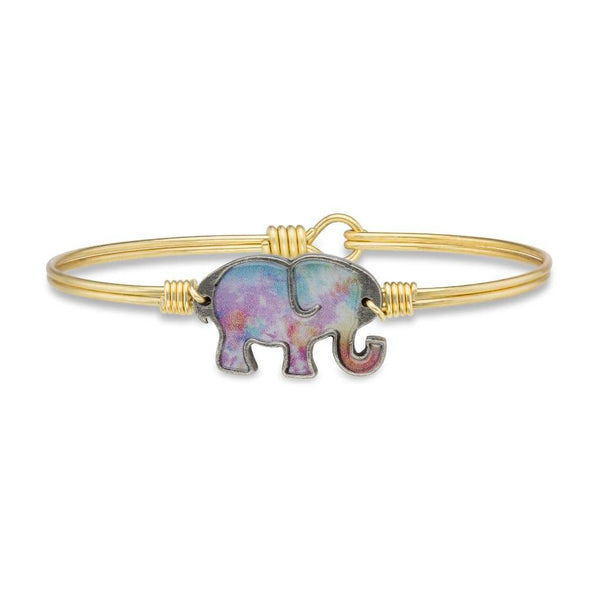 Tie Dye Elephant on Brass Ox Wire Wrapped Bracelet