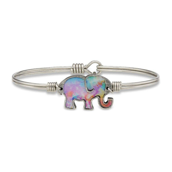 Tie Dye Elephant on Silver Wire Wrapped Bracelet