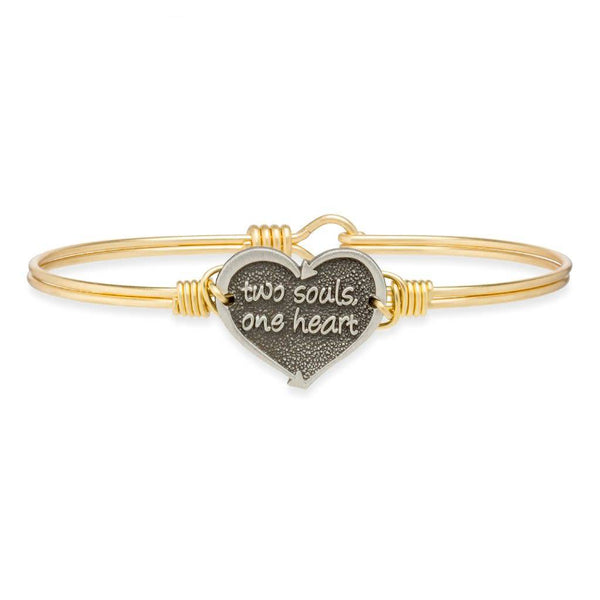 One Heart Bangle Bracelet Brass Tone