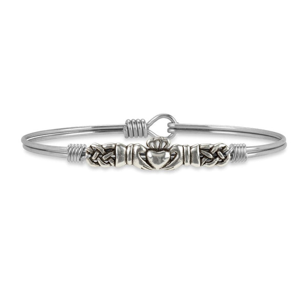 Claddagh Bangle Bracelet, Silver