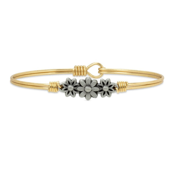 Daisy Bangle Bracelet, Brass