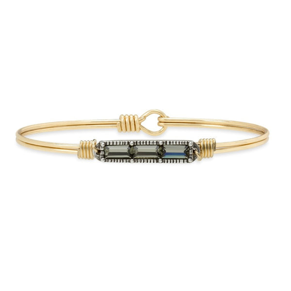 Mini Hudson Bangle, Black Diamond, Brass