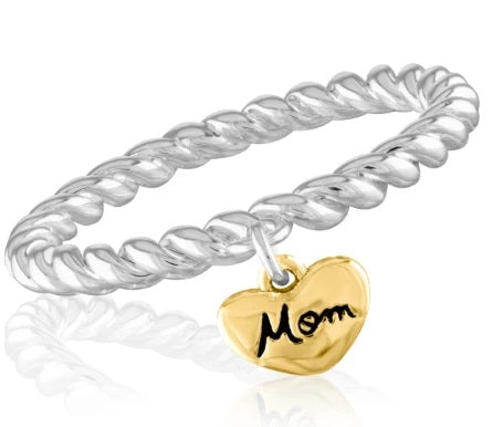 "Gold Heart ""Mom"" Stack Ring"