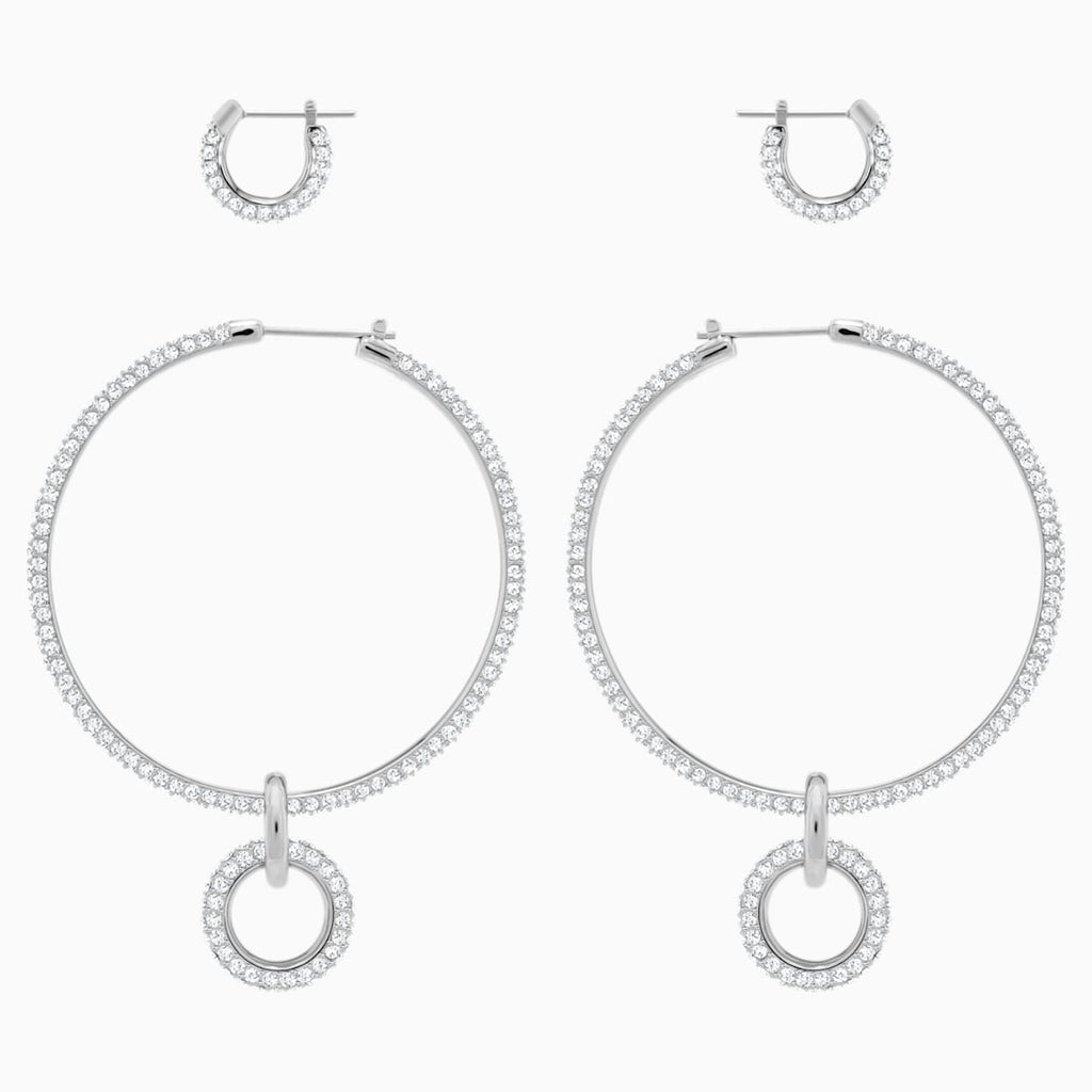 Stone Pierced Earring Set, White, Rhodium plated