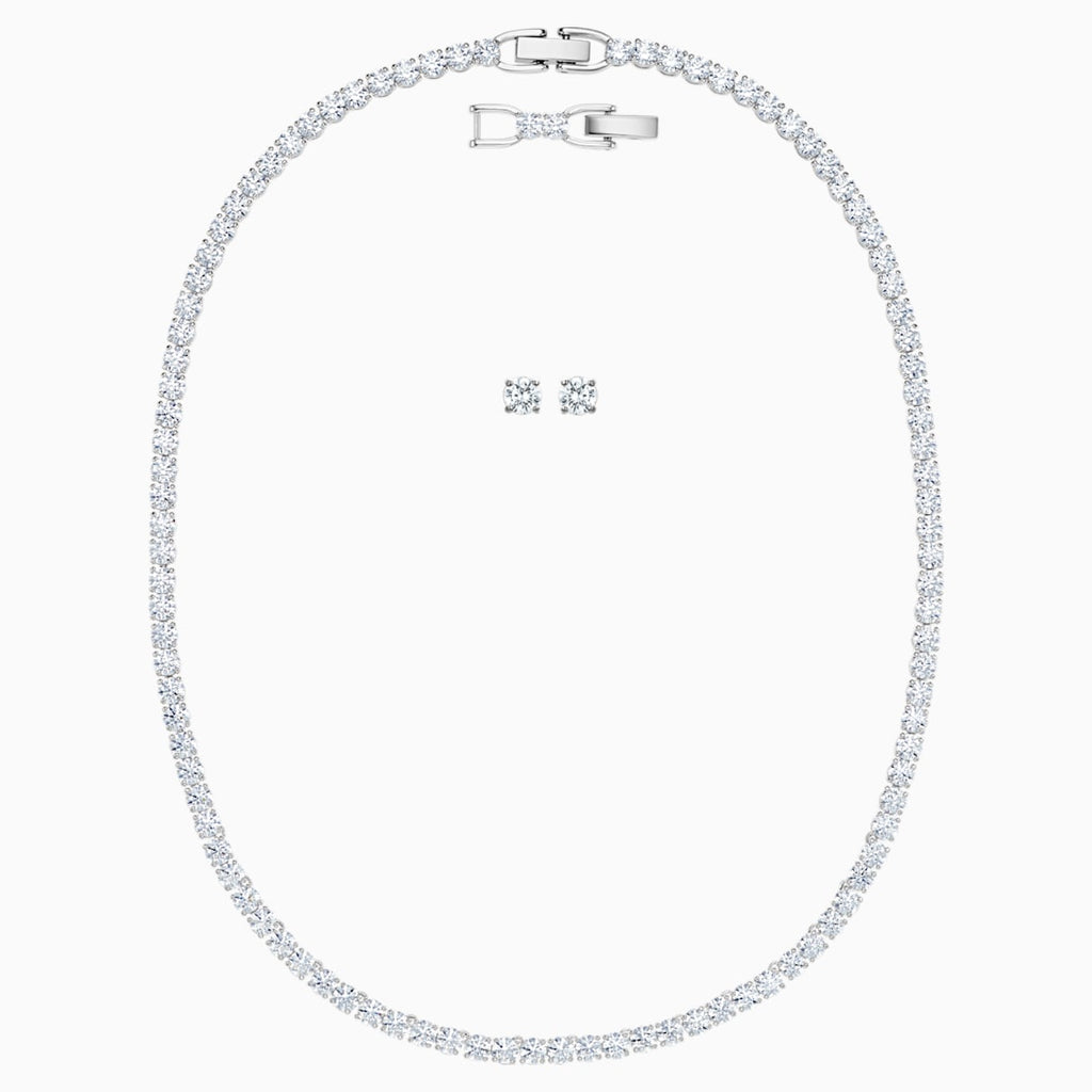 Tennis Deluxe Set, White, Rhodium plated