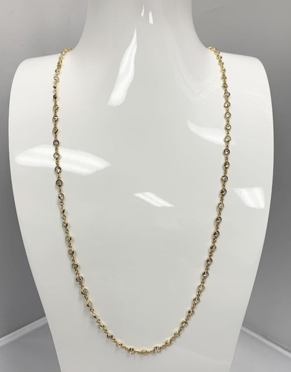 BR Gold Long Necklace w/ 3mm CZ Stones