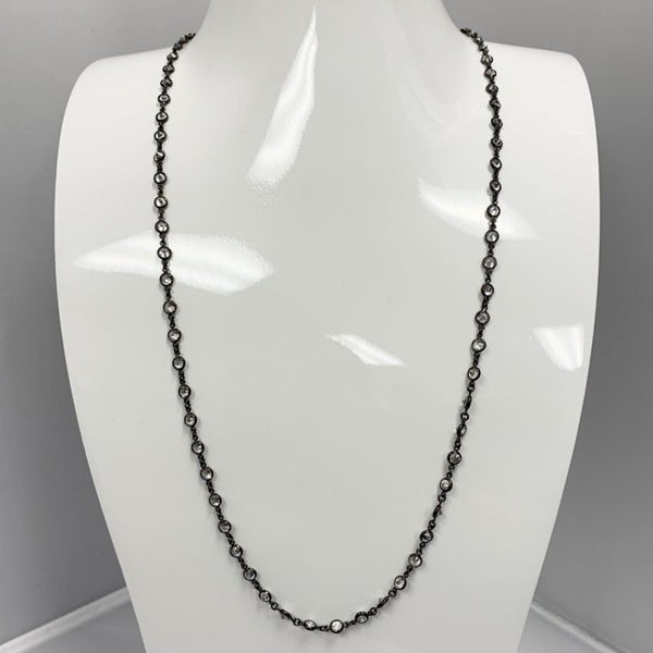 BR Oxidized Long Necklace 3mm Clear CZ Stones