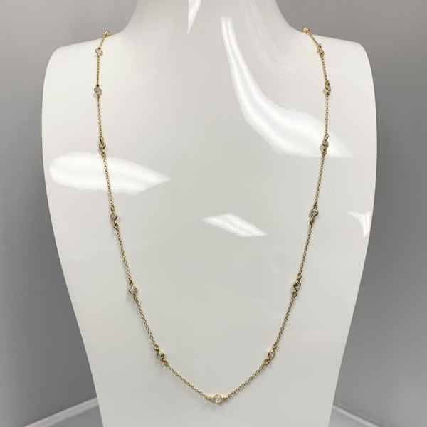 BR Gold Long Multi Stone Necklace