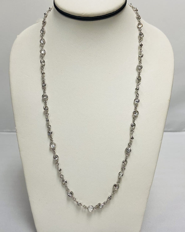 Silver Long Necklace w/ Clear Stones
