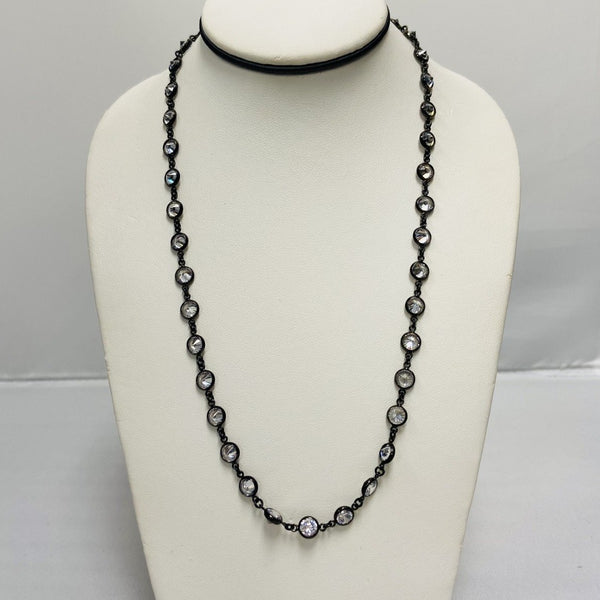BR Oxidized Long Necklace 5mm Clear CZ Stones