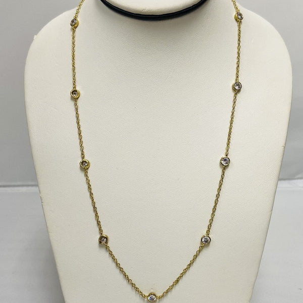 Gold Chain Necklace w/ Clear Stones