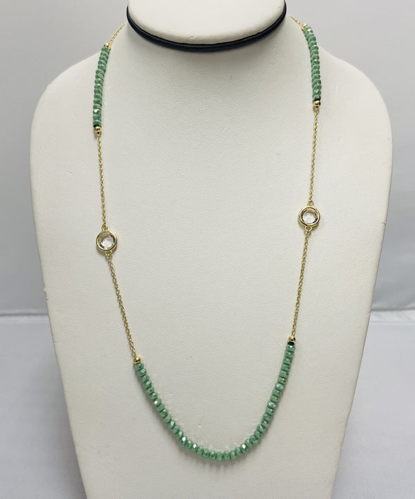 Green Beaded Necklace - Gold
