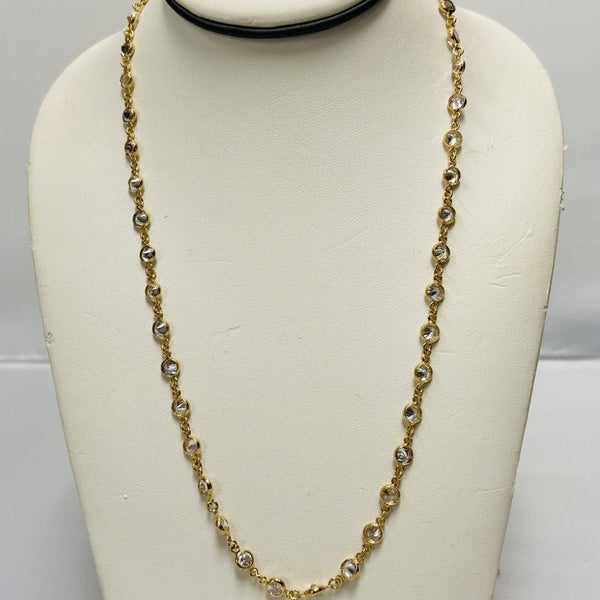 BR Gold Long Necklace w/ 5mm CZ