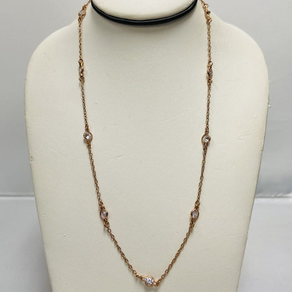 Long Rose Gold Necklace w/ CZ Stones