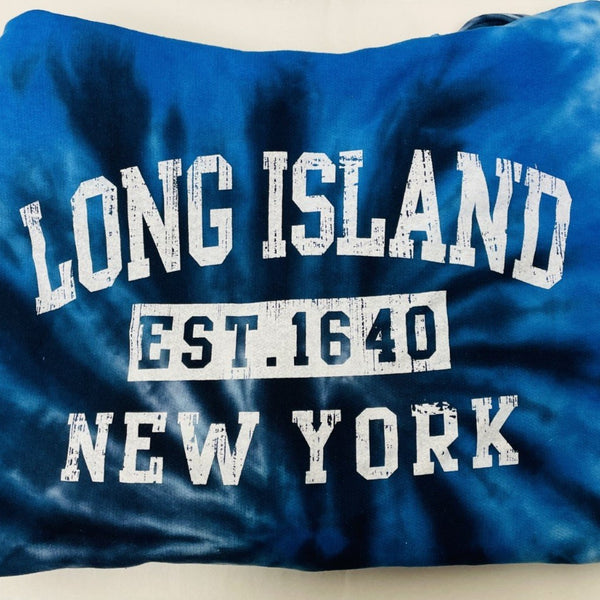 Long Island New York Est. Blue Tie Dye Hoodie