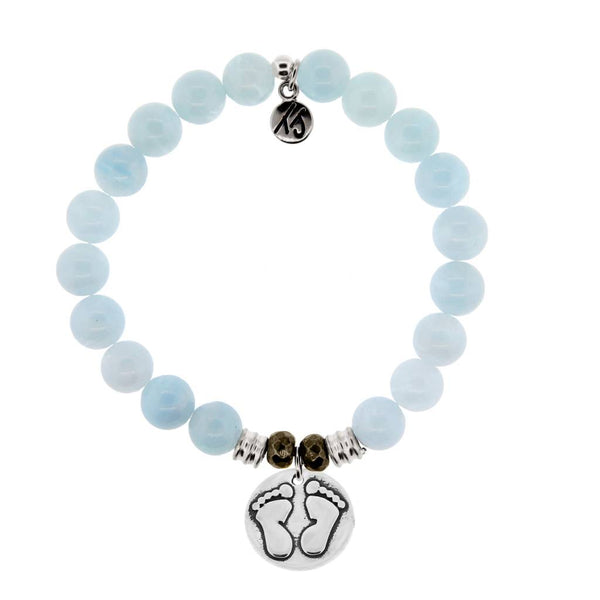 Core Collection Bracelet, Blue Aquamarine, Baby Feet