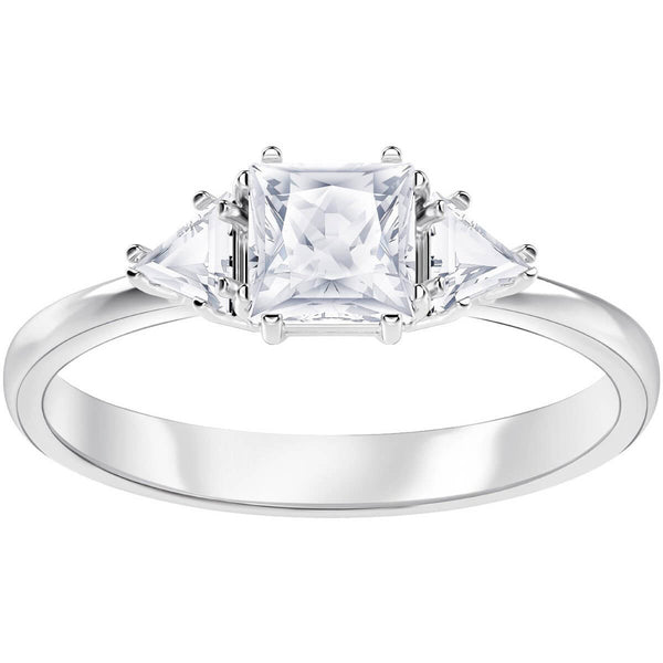 Attract Trilogy Ring, White, Rhodium plated
