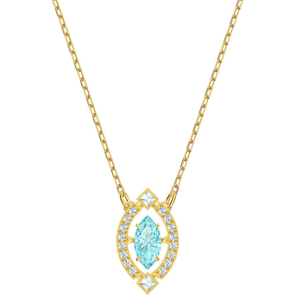 Swarovski Sparkling Dance Necklace, Green, Gold-tone plated