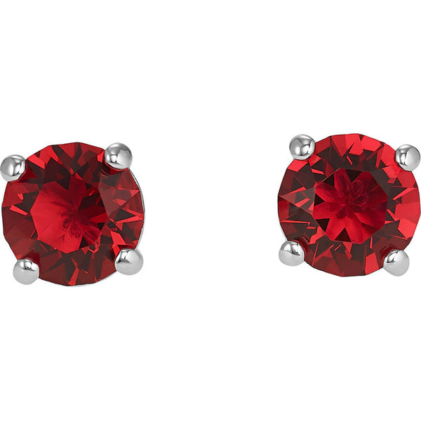 Attract Stud Pierced Earrings, Red, Rhodium plated