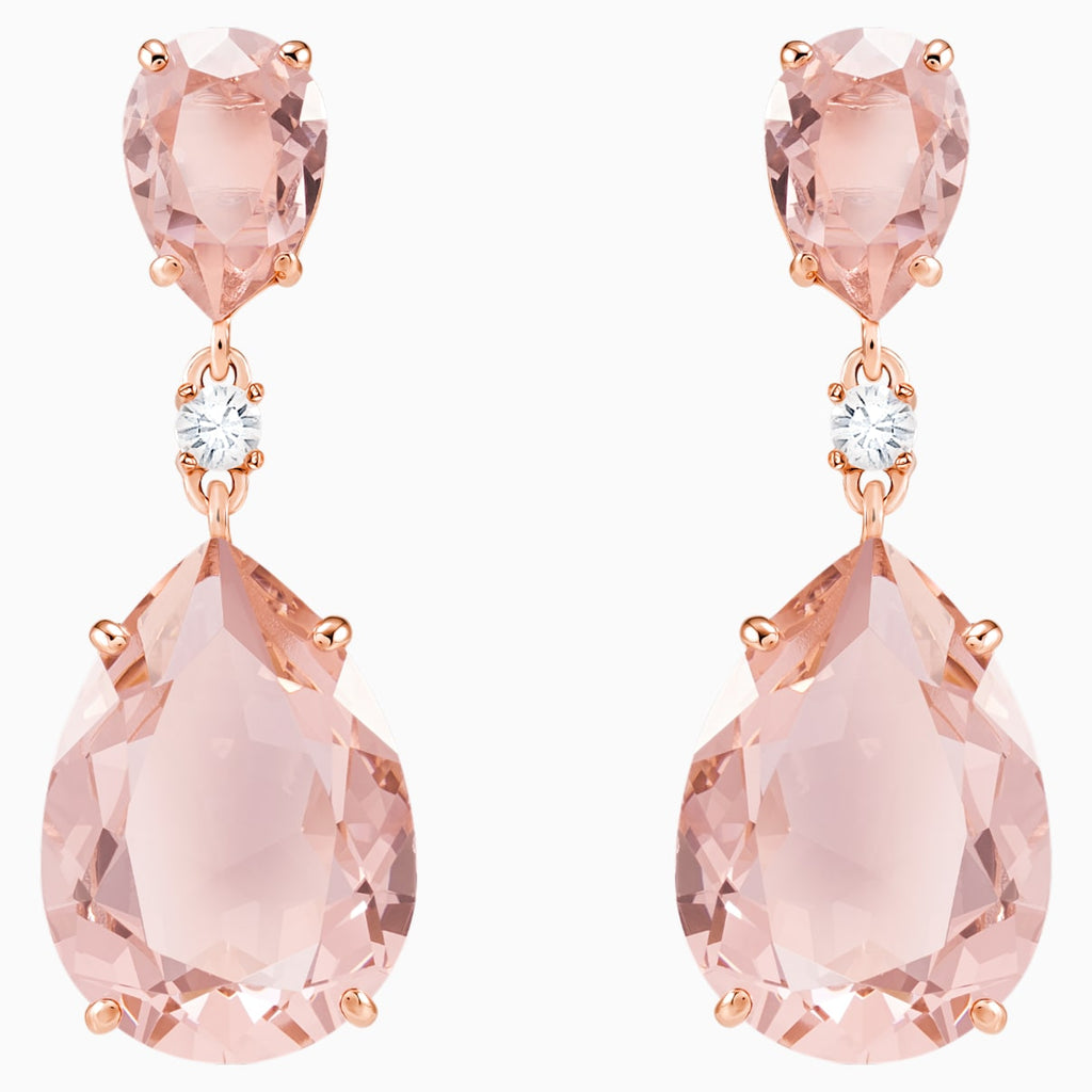 Vintage Drop Pierced Earrings, Pink, Rose-gold tone plated