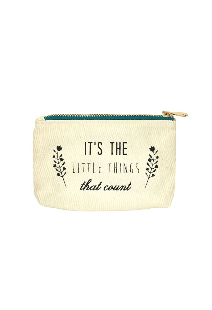 Canvas Pouch - Aqua Zipper - LITTLE THINGS -