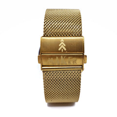 Gold Stainless Steel Mesh Watch Strap with Deployment Clasp - Maker Watch Co.