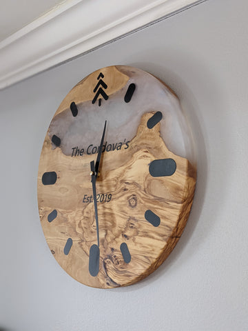 Olive Wood and Resin Wall Clock