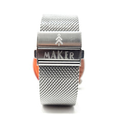 Silver Stainless Steel Mesh Watch Strap with Deployment Clasp - Maker Watch Co.