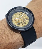 Black and gold automatic resin watch