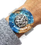 Blue and Brown Mechanical Watch