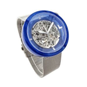 Blue and Silver Automatic Watch