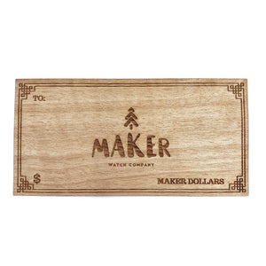 Custom Veneer Gift Card - Maker Watch Co.
