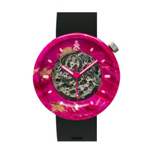 Neon Pink Wood Watch