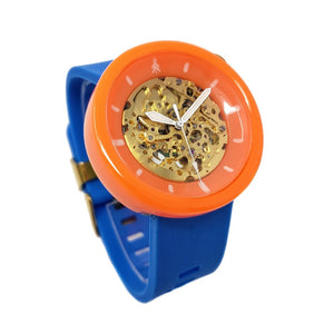 Orange and Blue Resin Automatic Watch