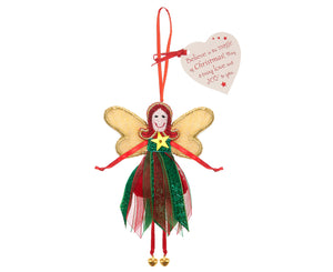 Fairy decoration with a red and green glittery dress, red ribbon arms and legs with gold bell feet and gold wings and a gold star on her chest as well as red sequin hair
