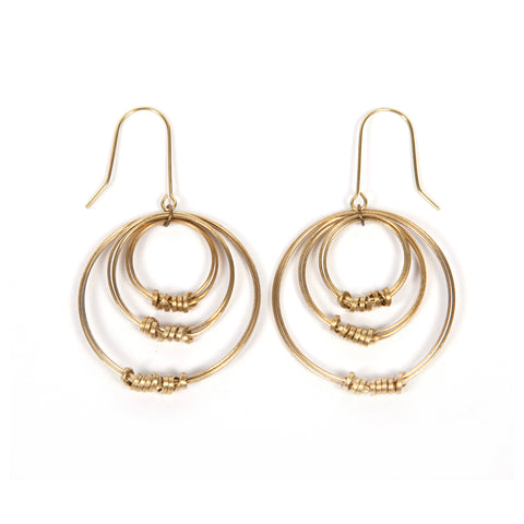 Brass Ribbon Tripple Offset Hoop Earrings