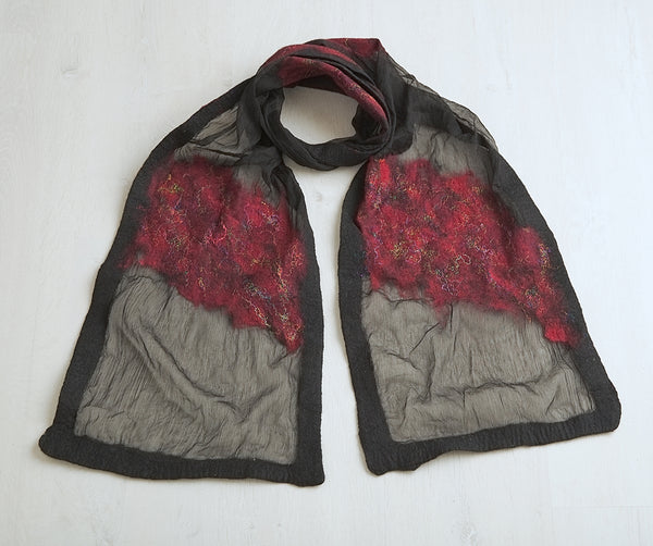 Abstract design felt and silk scribble scarf