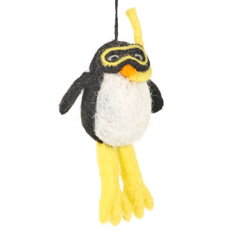 Handmade felt decorations - Diving penguin