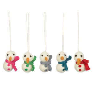 Set of five white felt snowmen with black eyes and orange noses. Each one has a different colour scarf and matching buttons down the front