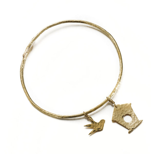 Hammered brass birdbox bangle