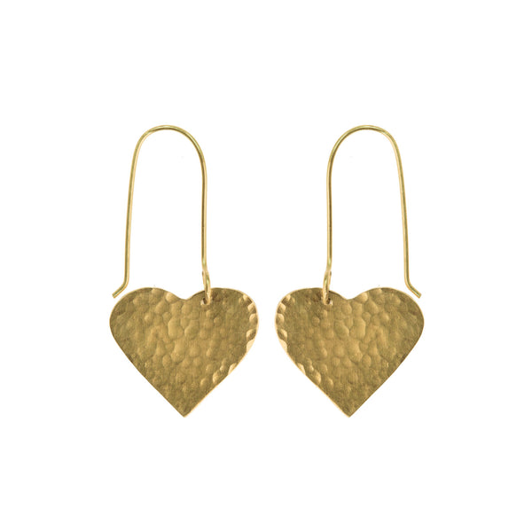 Hammered brass heart earrings