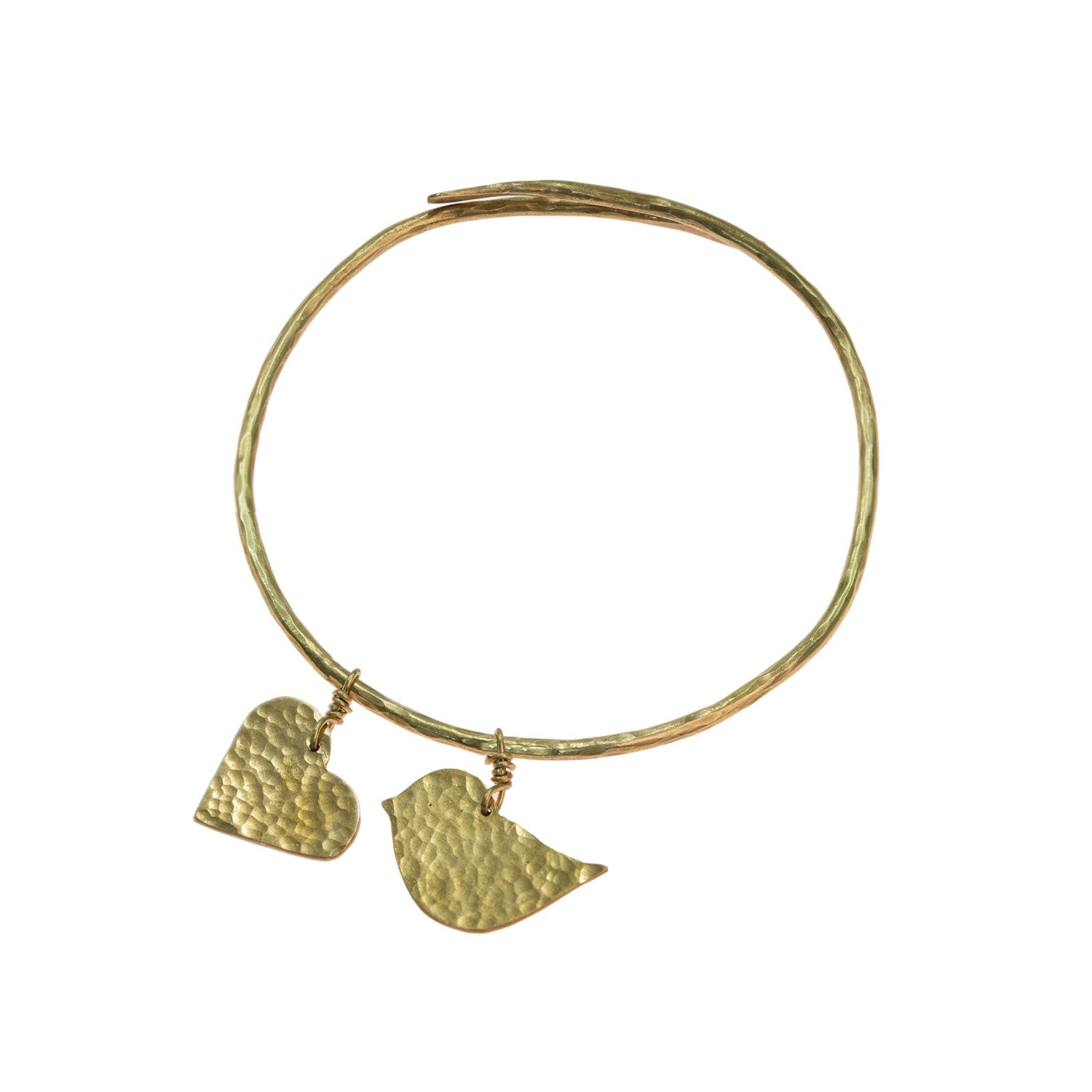 Hammered brass love bird bangle