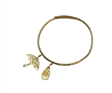 Hammered brass raindrop and umbrella bangle