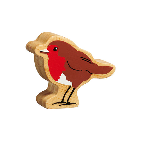 A brown and white robin figure with a red breast handpainted on chunky natural wood with the grain showing