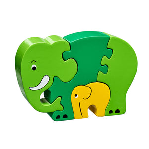 5 piece wooden puzzle with light and dark green elephant and yellow baby elephant