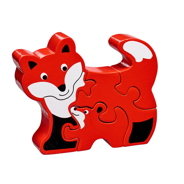 5 piece wooden puzzle with red and white fox and baby fox