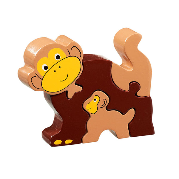 5 piece wooden puzzle with light and dark brown monkey and baby monkey both with yellow faces