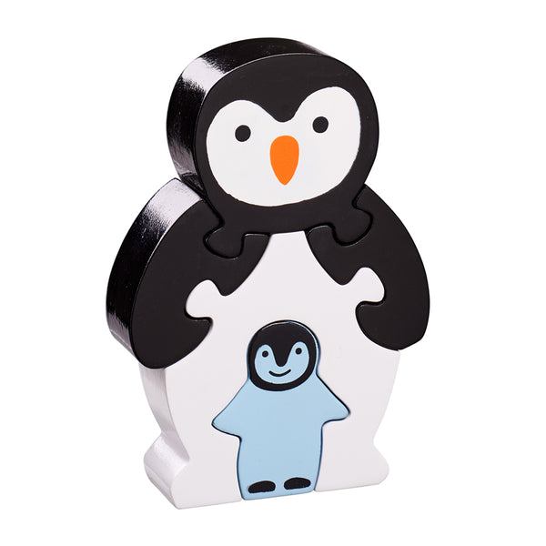 5 piece wooden puzzle with black and white penguin and baby penguin